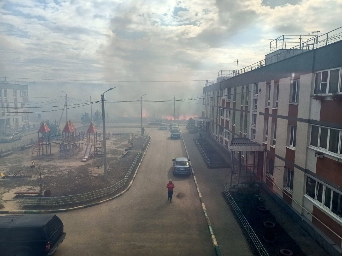 Трава горит рядом с домами в поселке Мостоотряд в Автозаводском районе - фото 1