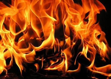 Здание пилорамы сгорело в Выксе
